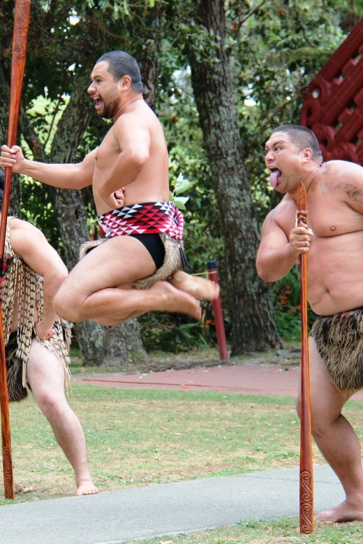 Maori mannen in traditionele krijgerskledij demonstreren een Haka