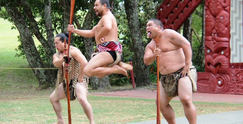 Maori mannen in traditionele krijgerskledij demonstreren een Haka